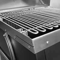 A closeup photo of the hand-welded cooking grate