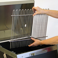 Cooking grate can be removed for cleaning or to access the fire.