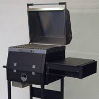 The B1 charcoal grill with cover open and side shelf attached.