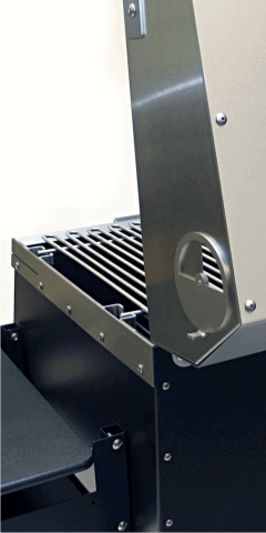 The B1 grill with a closeup of the heavy gauge stainless steel hardware and components