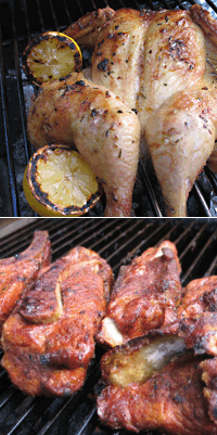 Grilled (spatchcocked) lemon chicken, smoked country style pork ribs