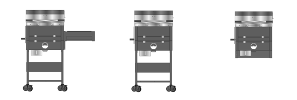 The three different package configurations of the B1 backyard charcoal grill